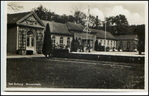 Bad Driburg AK 1942 Feldpost 2. Weltkrieg gelaufen Partie an der Brunnenhalle