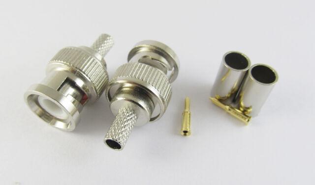 10x 3 Piece BNC Male Plug Crimp RG58 RG142 RG400 LMR195 RG223 Coaxial Connector