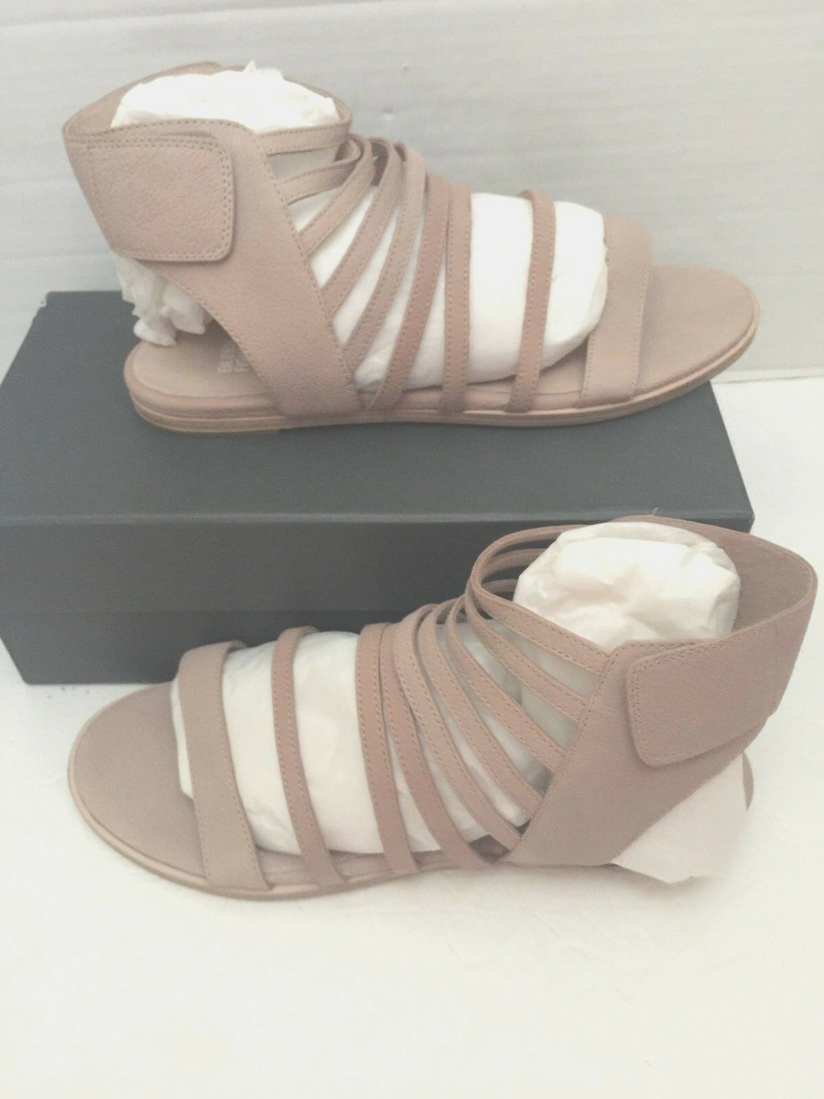 Eileen Fisher Otto Pebble Leather Strappy Gladiator Open Toe Sandals 10