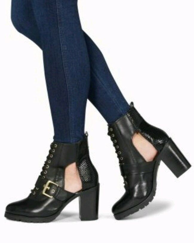 NEW Next Leather Cut Out Platform Ankle Boots Heels Lace-Up Black Size 6