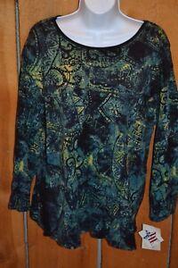 New-2XL-Ladies-Jess-amp-Jane-Long-Sleeve-Shirt-Black-Turquoise-Cotton-Scoop-Neck