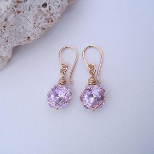 Handmade-Handcrafted-Pale-Amethyst-Purple-Crystal-14k-Gold-Filled-Drop-Earrings