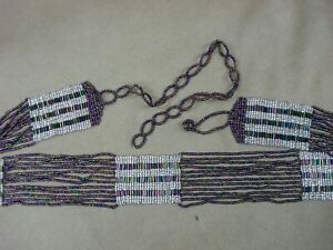 VINTAGE-ESTATE-1920-039-S-FLAPPER-IRIDESCENT-PURPLE-GLASS-BEAD-BELT-40-034-MINTY