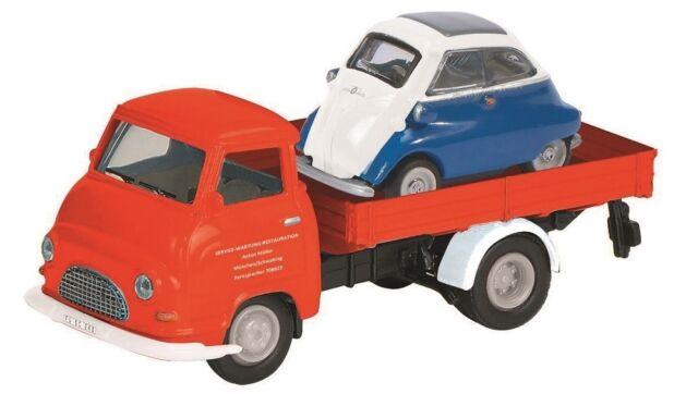° Schuco 452623000 Hanomag mensajero con BMW Isetta rojo coche modelo escala 1:87 nuevo