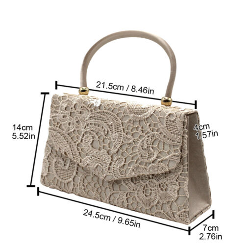 Lace Satin Women Fashion Wedding Evening Party Elegant Handbag Lady Clutch Purse