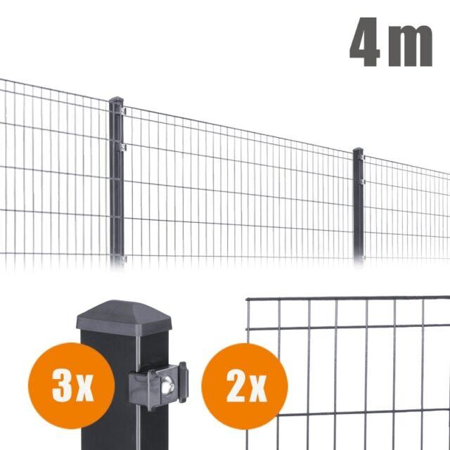 26m Sonderset 1 M Eckpfosten Einzelstabmatten Zaun Anthrazit