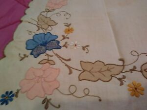 """Analytical Exceptional Madeira Embroidered Cutwork Applique 41"""" X 16"""" Linen Table Runner"""