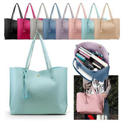 Fashion Tote Bag Women/'s Casual Leather Shoulder Bag Tassel Bags Large Capacity