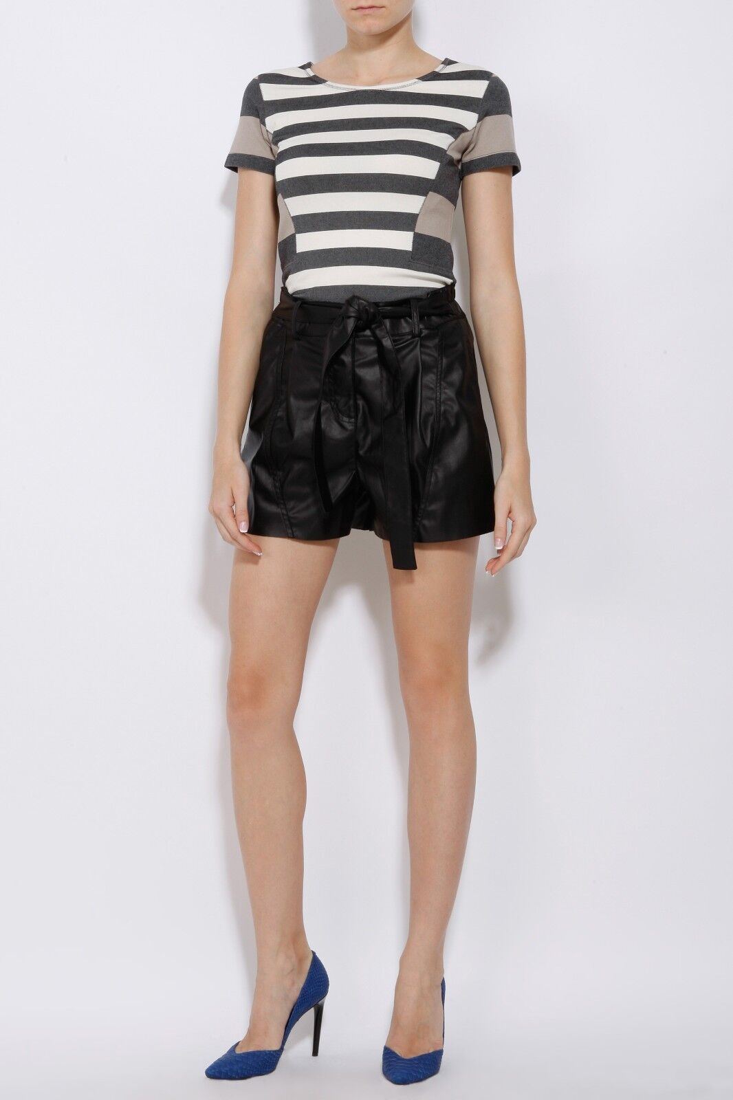 10 CROSBY DEREK LAM Faux Leather Belted Shorts Size 4 NWT  295
