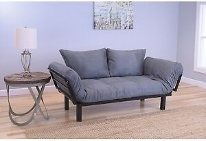 Eli Grey Suede Daybed Lounger Sofa Futon Set Twin XL Bed Mattress