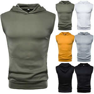 Men-039-s-Muscle-Hoodies-Tank-Top-Gym-T-Shirt-Sport-Fitness-Vest-Workout-GYM-Tee