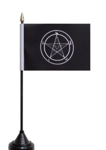 "BAPHOMET CHURCH OF SATAN Handwaving Flag 9/"" x 6/"" Polyester Flag 12/"" Wooden Pole"