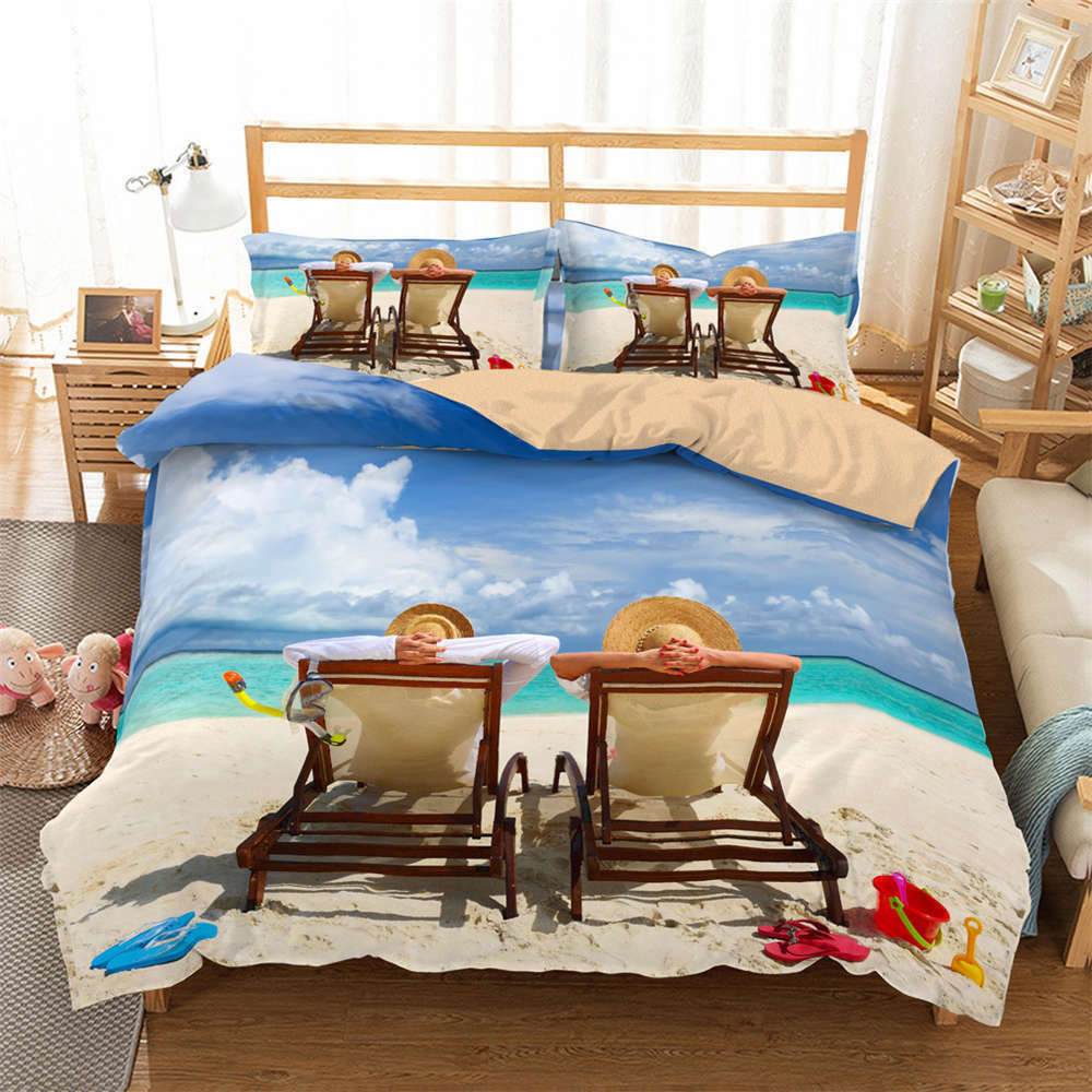 Enjoy Good Seaside Sun 3D Digital Print Bedding Duvet Quilt Cover Pillowcase