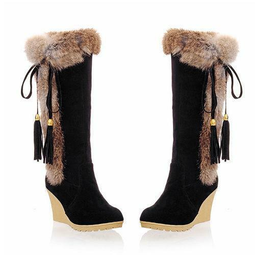 Womens High Heel Wedge Tassel Fur Top Trim Knee High Boot Roma Shoes Stylish New