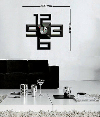 Black Square Stickers DIY Wall Clock Art Watches Time Home Decor 10A011