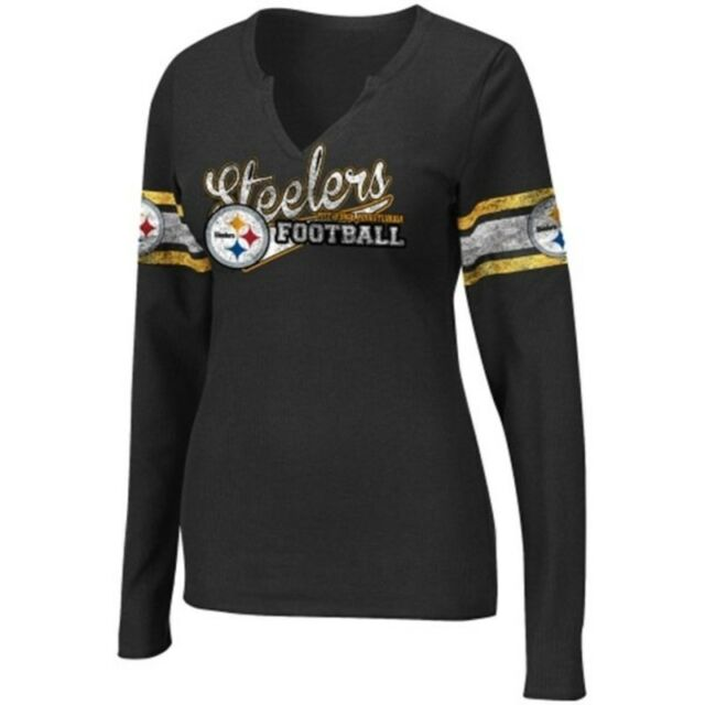 Pittsburgh Steelers NFL Women's Gameday Gal V-Neck Long Sleeve Thermal Shirt