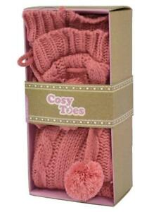 COSY-TOES-CABLE-KNIT-PINK-LADIES-KNITTED-BOOT-SOCKS-SIZE-4-7-NEW-GIFT-ADULTS