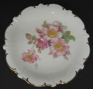 Vtg-Schumann-Wild-Rose-Chop-Plate-Serving-Platter-Scalloped-Gold-Rim-E-amp-R-1886