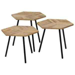 vidaXL-3x-Table-Basse-Hexagonal-Teck-Recycle-Salon-Table-d-039-Appoint-Gigogne