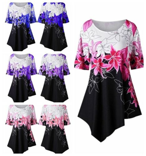 Womens Summer Flower Printed A Line Club Party Tunic Tops Loose Blouse Tee Shirt
