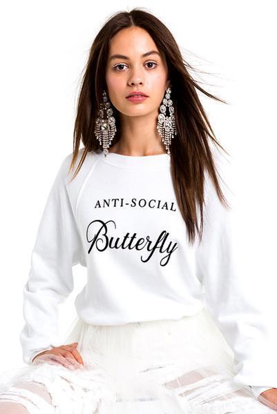Wildfox Women's Anti-Social Butterfly Logo Sweatshirt White,Size XS, BNWT