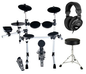 Digital-E-Drum-Set-Hocker-Kopfhoerer-Schlagzeug-Komplettset-Drumset-USB-MIDI