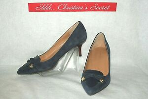 TOMMY-HILFIGER-Womens-Heels-Shoes-Leather-Nubuck-Blue-Juline-Sz-9-M-VG
