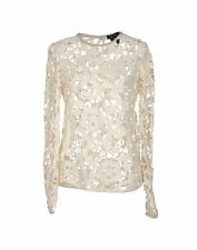 ISABEL MARANT Crochet Cream Lace Top Suede Trim New BNWT UK 8 FR 36 RRP £455
