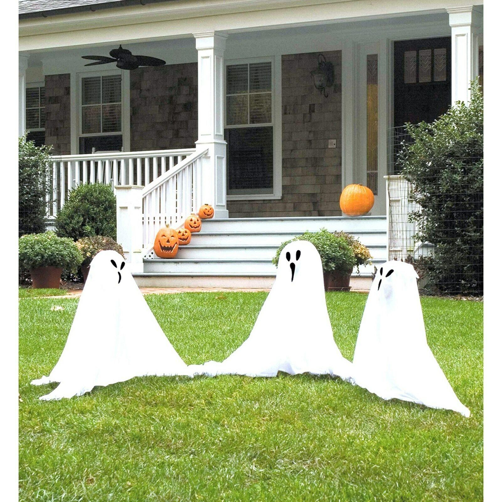 Halloween Ghosts 3 Pc Set Outdoor Yard Decor Ghost Lawn Light Up Prop Decoration