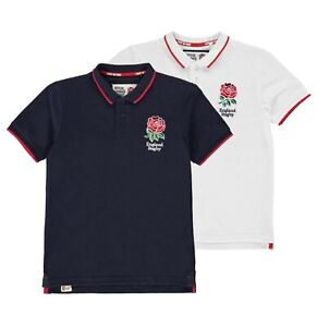 Navy England Rugby RFU Kids Boys Pique Polo Shirt New
