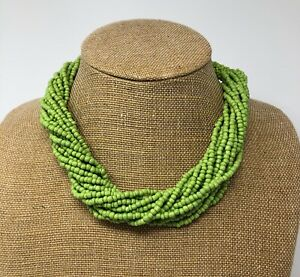 Vintage-Multi-Strand-Twisted-Seed-Bead-Necklace-Green-Beads-20-In-Torasade