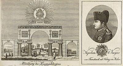 NAPOLEON BONAPARTE IN DRESDEN - ILLUMINATION FRIEDENSFEST - Lithografie 1807