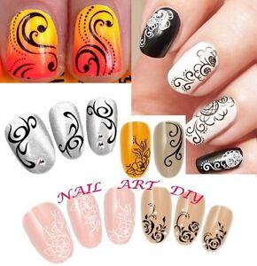 Caricamento dell\u0027immagine in corso Nail,Art,Water,Transfer,Stickers,Decals, Fiori,Bianchi,