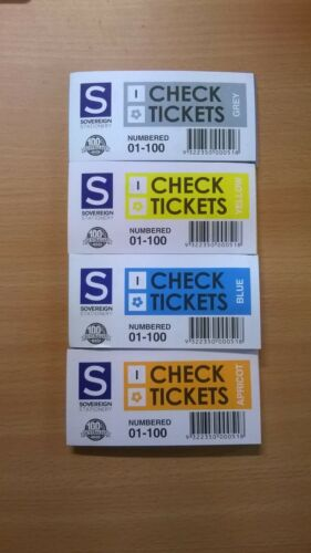 Sovereign Check Ticket Books I 1100 Assorted Colours 4 Books 00551