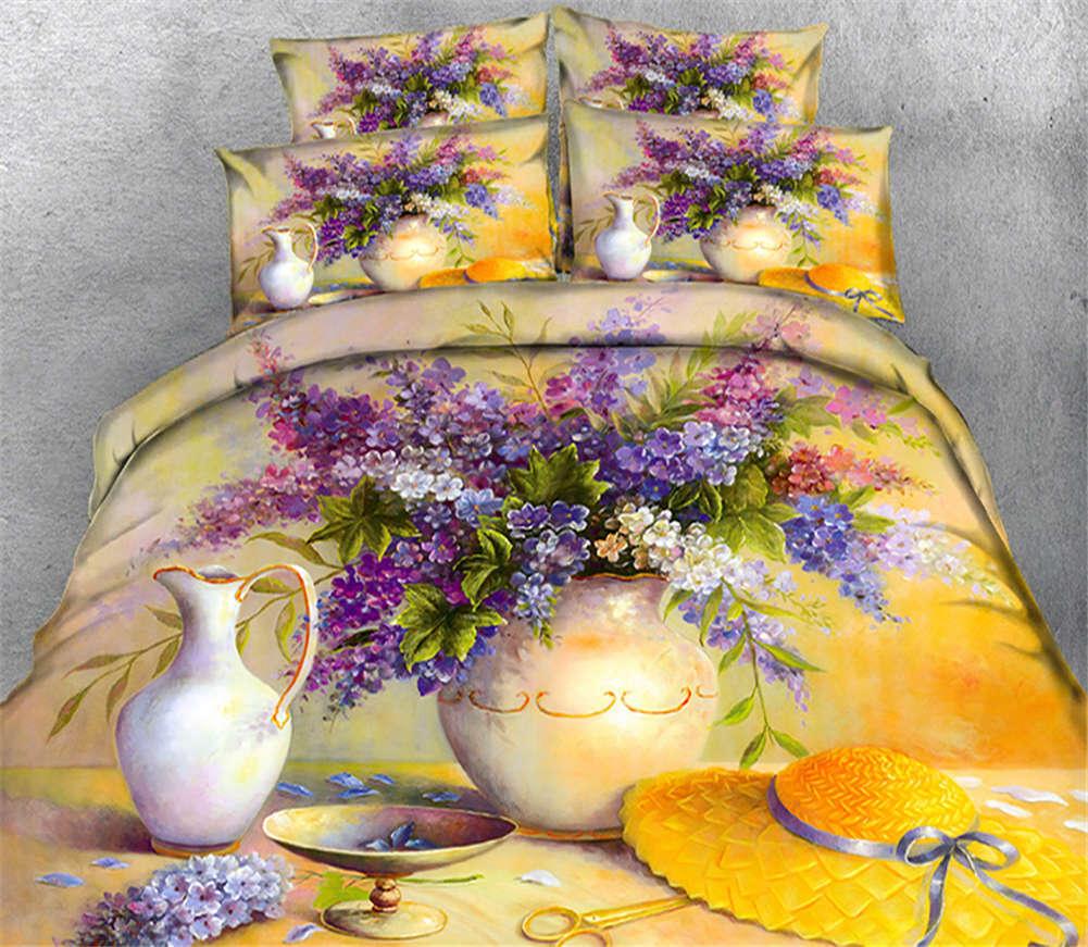 Vivid Former purple 3D Printing Duvet Quilt Doona Covers Pillow Case Bedding Set