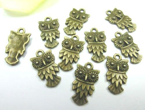 10 Charms lechuza colgante 20x11mm color bronce metal #s539