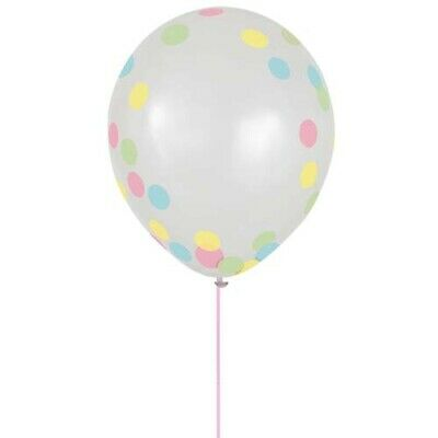 HAPPY BIRTHDAY PRETTY PASTELS CONFETTI-FILLED LATEX BALLOONS 6 ~Party Supplies