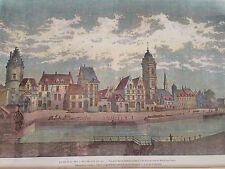 Hand Painted Engraving Gravures Bois Anciennes 1865. Beautifully Framed.