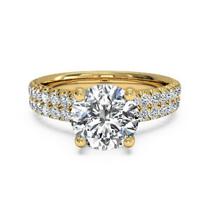 1.40 Ct Round Moissanite Anniversary Superb Ring 18K Real Yellow Gold Size 4.5