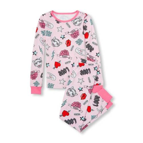NWT The Childrens Place Tiger Tatoo Icons Girls Pink Long Sleeve Pajamas Set