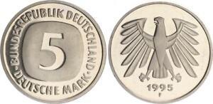 5DM Moneda de Curso 1995 Para Top-Erhaltung - Raro Año Pulida Placa