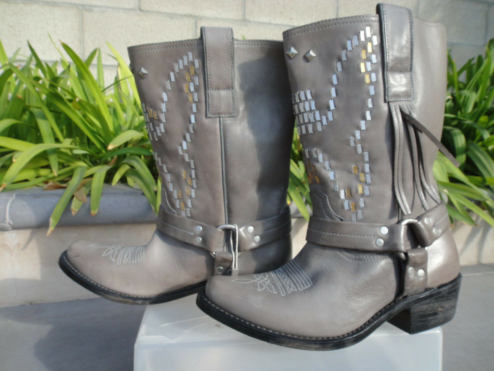 Golden Goose Deluxe Brand MARKET Moto Leather Dove Grey Italy Boots EUR37 or 40