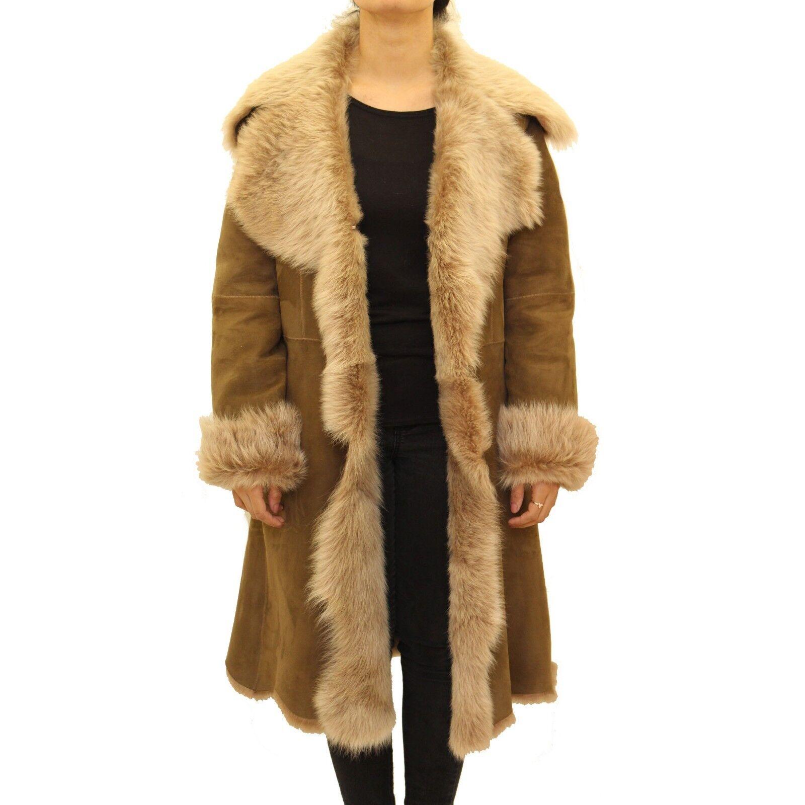 Ladies Tan Brown Toscana Shearling Sheepskin Waterfall Design Warm Winter Coat