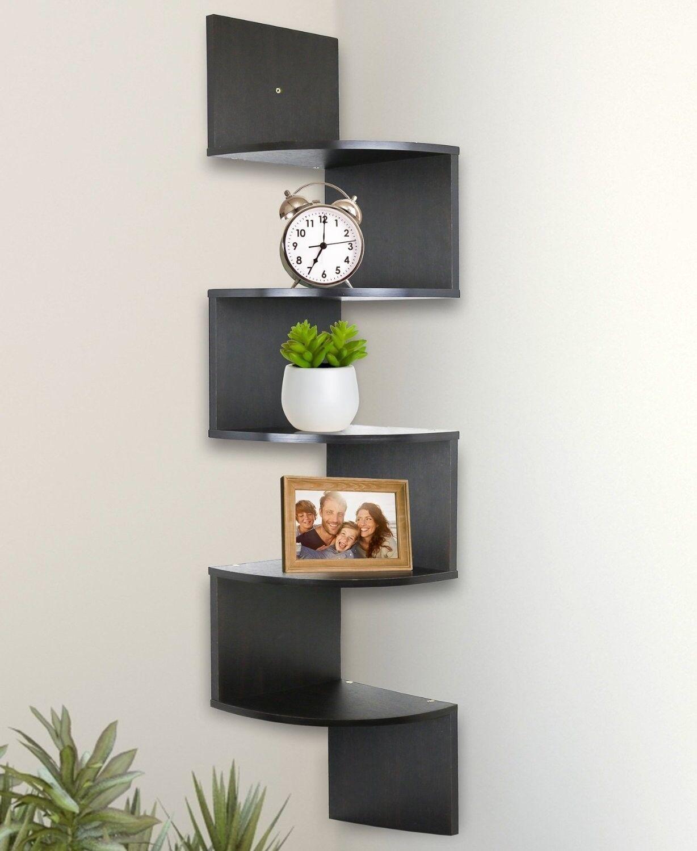 Espresso Corner Shelves 5 Tier Wall Mount Modern Style Living Room Office Teens