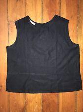 BRYN WALKER black linen sleeveless top. Size L.