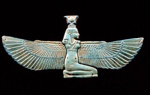 Belle solide LOURD 18K OR fait à la main égyptien ailes Isis Pendentif//Charm