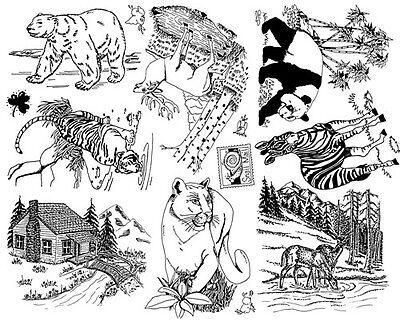 Unmounted Rubber Stamps Sheets, Wildlife, Tiger, Deer, Elk, Scenic, Animals