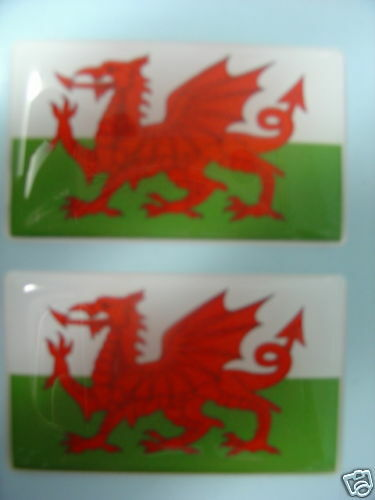 NEW PAIR OF DECAL WALES WELSH FLAG UK FIAT PEUGEOT FORD BADGES