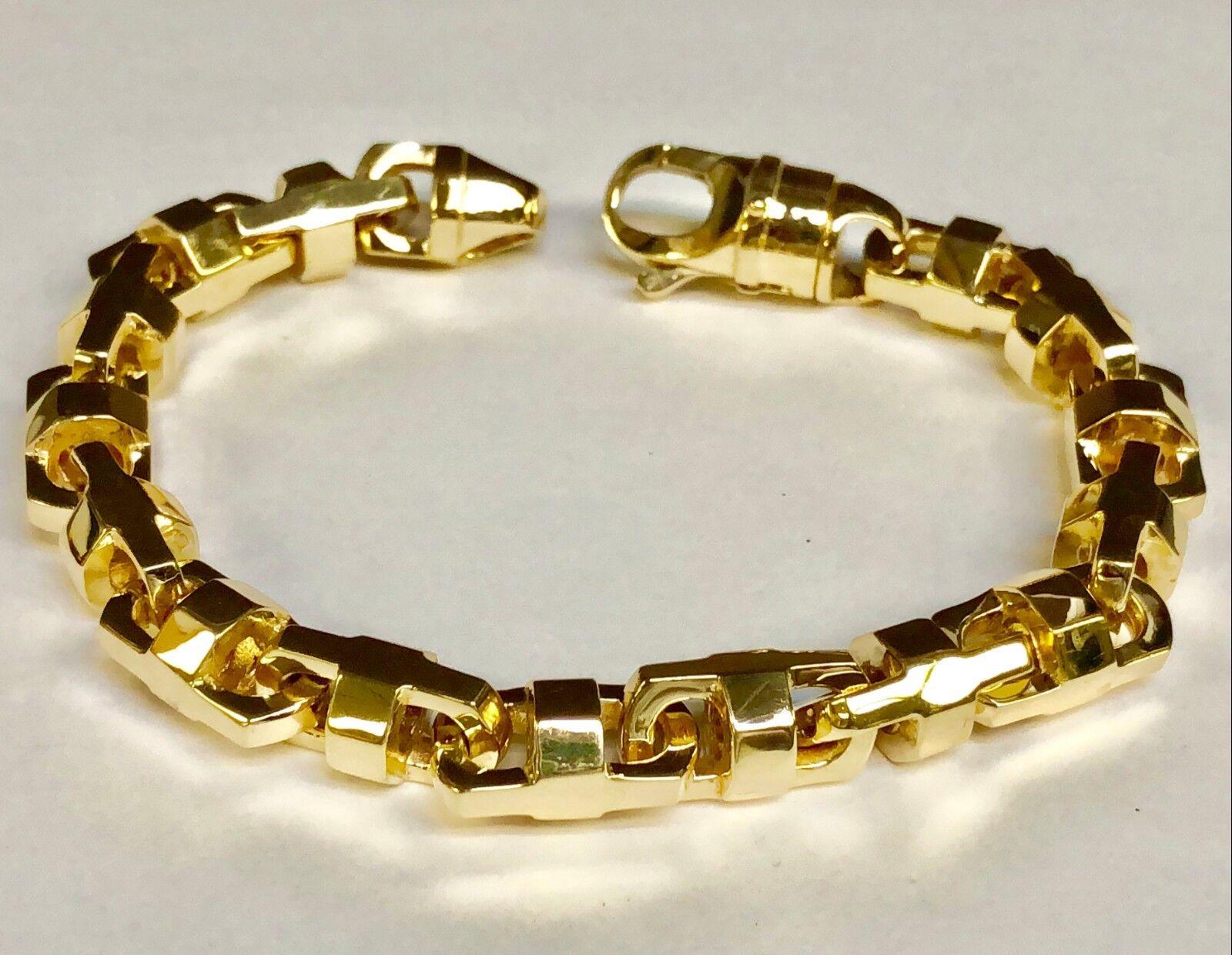 10k Solid Yellow gold Anchor Mariner Bullet Link Bracelet 12 MM 108 grams 9.25