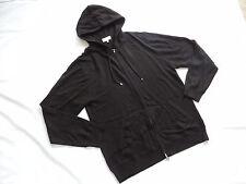 NEIMAN MARCUS Black Cashmere Cotton Hooded Full Zip Sweater XXL hoodie